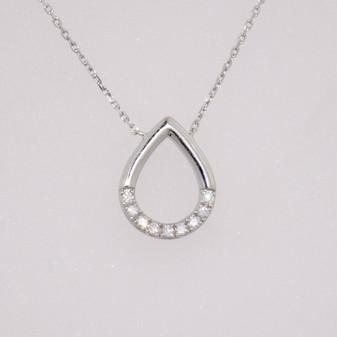 9ct white gold diamond-set pear shaped pendant
