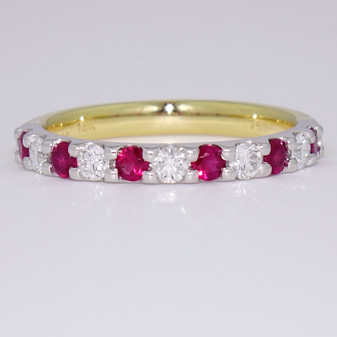 18ct gold ruby and diamond eternity ring