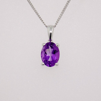 9ct white gold oval cut amethyst pendant