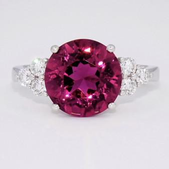18ct white gold pink tourmaline and diamond ring