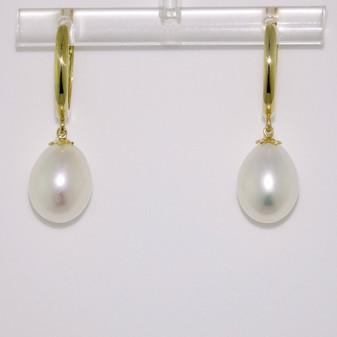 9ct gold cultured freshwater pearl hinged hoop earrings