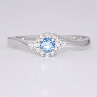 9ct white gold topaz and diamond ring