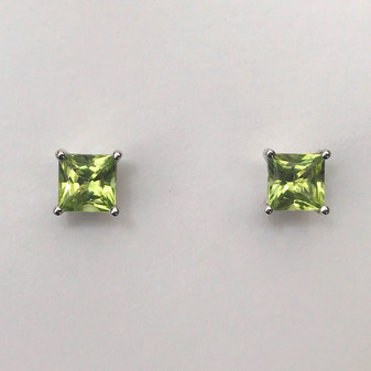 9ct white gold peridot stud earrings
