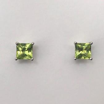 9ct white gold peridot stud earrings