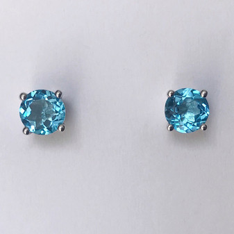 9ct white gold round topaz stud earrings