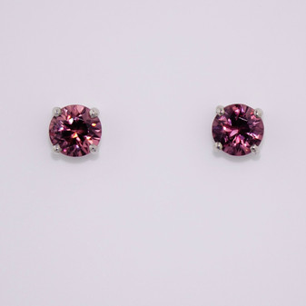 9ct white gold pink zircon studs