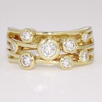 18ct yellow gold diamond bubble ring