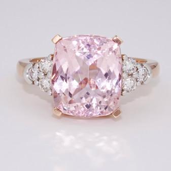 9ct rose gold kunzite and diamond ring