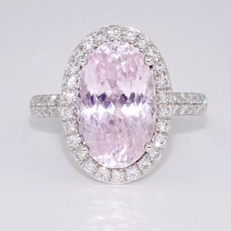 9ct white gold kunzite and diamond ring GR5344