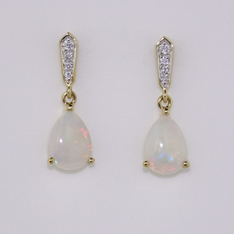 9ct gold opal and diamond drop earrings
