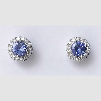 18ct white gold tanzanite and diamond stud earrings