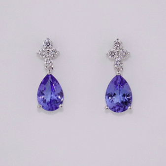 18ct white gold tanzanite and diamond drop earrings ER11615