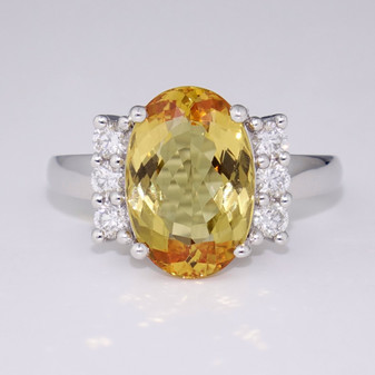 18ct white gold Imperial topaz and diamond ring