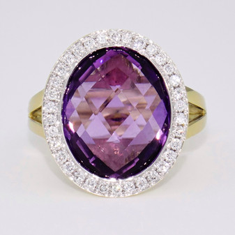 9ct yellow and white gold amethyst and diamond ring
