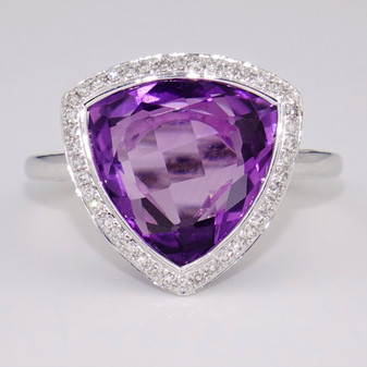 9ct white gold trillion cut amethyst and diamond ring