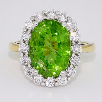18ct Yellow and White Gold Peridot Cluster Ring