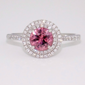 9ct white gold pink zircon and diamond double halo ring