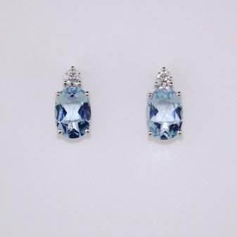9ct White Gold Aquamarine & Diamond Earrings ER11284
