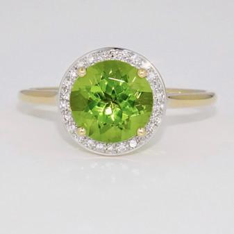 9ct gold peridot and diamond halo ring