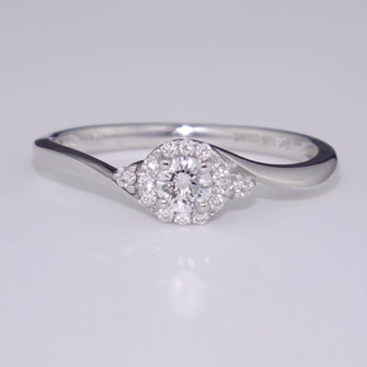 18ct white gold diamond cluster twist ring