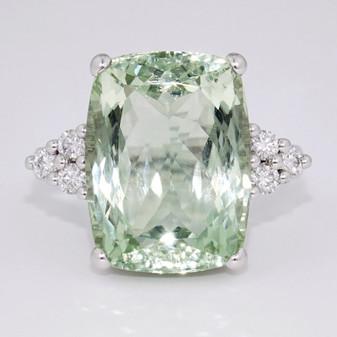 9ct white gold prasiolite and diamond ring GR4070