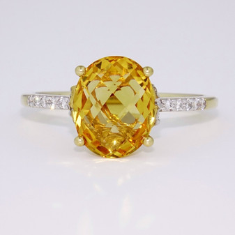 9ct gold citrine and diamond ring GR3761