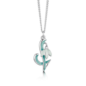 Sheila Fleet Snowdrop necklace Leaf enamel
