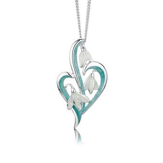 Sheila Fleet Snowdrop necklace with Leaf enamel