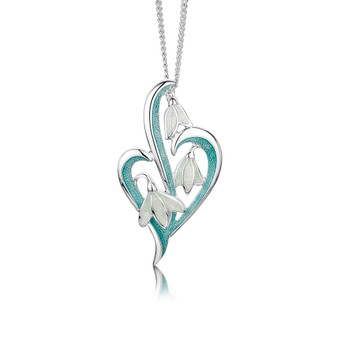 Sheila Fleet Snowdrop necklace with Leaf enamel