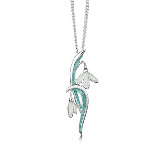 Sheila Fleet Snowdrop neckalce with Leaf enamel
