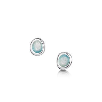 Sheila Fleet Arctic Stream stud earrings with Arctic Blue enamel