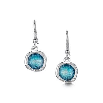 Sheila Fleet Lunar drop earrings with Lichen enamel