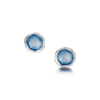 Sheila Fleet Lunar studs with Lunar Blue enamel