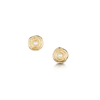 Lunar 9ct gold earrings with pearl