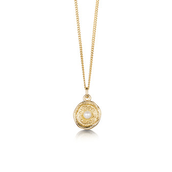 Sheila Fleet Lunar 9ct gold necklace with pearl