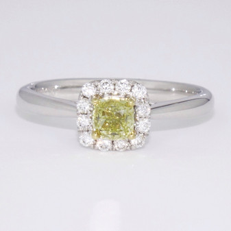 Natural fancy yellow diamond cluster ring
