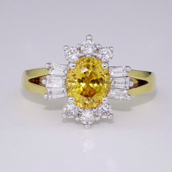 18ct gold yellow zircon and diamond cluster ring