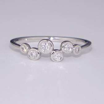 18ct white gold diamond bubble ring
