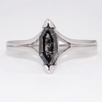 Unique 18ct white gold fancy cut salt and pepper diamond ring with split shoulders