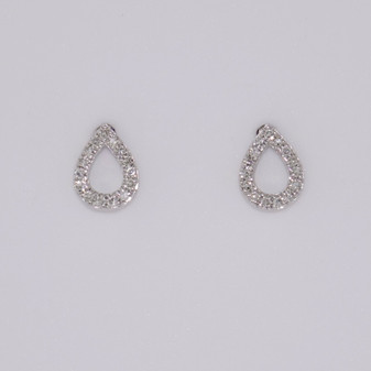 9ct white gold open pear diamond stud earrings