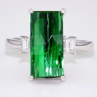 Platinum green tourmaline and diamond ring