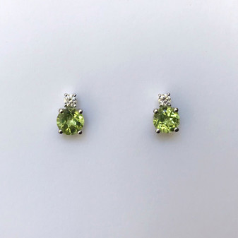 9ct white gold peridot and diamond earrings