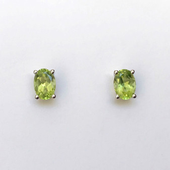 9ct white gold peridot earrings