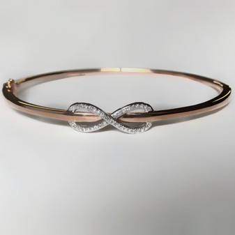 9ct rose gold diamond infinity bangle