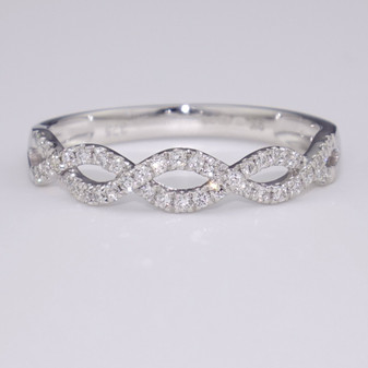 9ct white gold diamond weave ring