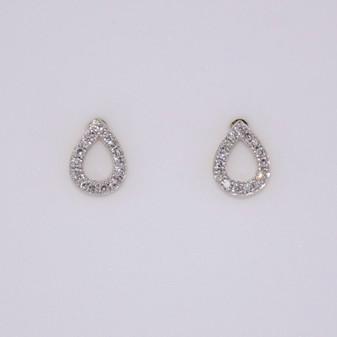 9ct gold diamond pear shaped stud earrings
