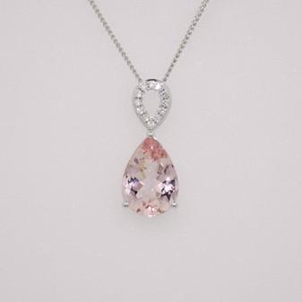 9ct white gold morganite and diamond necklace
