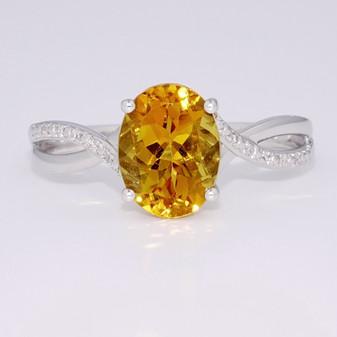 9ct white gold citrine and diamond ring GR5991