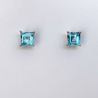9ct white gold square cut blue topaz earrings