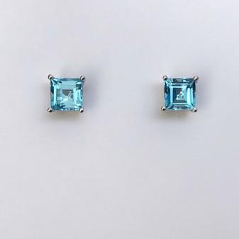 9ct white gold square cut blue topaz earrings